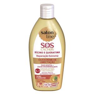 Salon Line Tratamento (SOS Cachos) - Oleocreme Umectacao Ricino e Queratina 100 Ml